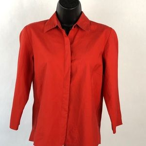 DKNY Long Sleeve Red Long Sleeve Button Up Shirt M
